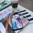 iPhone 12 Purple Blue Marble Custom Glossy Case