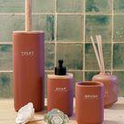 Toilet Brush DKD Home Decor Bamboo Stoneware Terracotta 10 x 10 x 38 cm