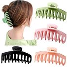Big Claw Clips 4 Inch Nonslip Hair Clip Banana Large matte rubber for Women and Girls Think Curly Hair French Design Accessories (4 Packs)