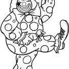 Kleurplaat van Clown met parapluutje