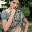 Beautiful Indian Desi Girl Show Navel in Light Blue Saree