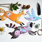 Articulated Paper Animals - Instant DIY Download - 4 Woodland Animals fox, bear, raccoon & rabbit - paper dolls