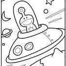 Mes premiers Coloriages  - la petite soucoupe volante et son alien a imprimer