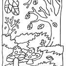 Kleurplaat Herfst paddestoelen