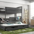 Blanka Bunk Bed with Trundle and Storage - Graphite / Without Mattresses