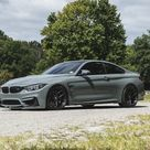 Download wallpapers BMW M4, gray sports coupe, 2018, Nardo Grey, F82, tuning M4, exterior, gray M4, black wheels, German sports cars, BMW besthqwallpapers.com