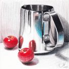 Original Still Life Drawing by Sedigheh Zoghi   Fine Art Art on Paper   NO.161, Reflection