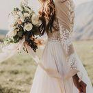 Long Sleeve Rustic Weding Dresses Lace Appliqued Ivory Beach Wedding Dress AWD1159