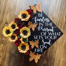 Custom Sunflower Roses Butterfly Graduation Cap Topper Mexican | Etsy