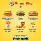 Burger King Fast Food Burgers Calorie Comparison
