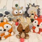 Filz Wald Tier Muster Ornamente PDF Nähen einfache Muster Filz Ornamente DIY Softie Eule Igel Waschbär Eichhörnchen Hirsch Baby mobile Spielzeug