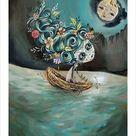 Day of the Dead Sugar Skull Ghost Moth Moon Boat Night   Etsy