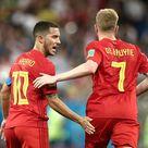 Belgium's Eden Hazard and Kevin De Bruyne celebrate scoring in their...