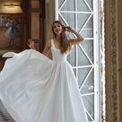 Romantic wedding dress Barbara   Minimalist satin dress   Open back wedding dress