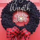 Joy Yarn Wreath - Crafts, Decor and Family