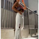 white ripped jeans outfit