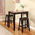 Breakfast Table With Stools Counter Height 3-piece Dining Set Kitchen Furniture for sale online | eBay
