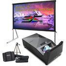 Eliteprojector Ultra Short Throw Projector IPX2 Li-Ion Battery Native 1080P UST CLR DLP LED Included w/ Elite Screens OMS75H2 75