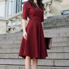 Plus Size Dress, Cocktail Dress, Womens Dress, Red Dress, Burgundy Dress, Rust, Women Dress, Knee Length, Short Sleeve Dress, 1950's Dress