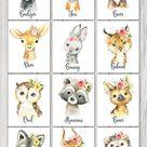 Woodland Animals GIRL Wall Art Decor, Badger Bear Fox Owl Raccoon Deer Bunny Bobcat Hedgehog Boar Wolf Squirrel, Digital Printable, Flowers