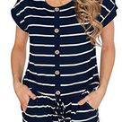 Women's Summer Casual Short Sleeve Striped Loose Jumpsuit Rompers with Pockets - X-Large / Navy