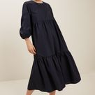 Poplin Tiered Midi Dress