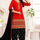 Red Cotton Embroidered Casual Salwar Kameez