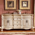Silkroad Exclusive 72-in Antique White Undermount Double Sink Bathroom Vanity with Crema Marfil Natural Marble Top Lowes.com