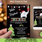 Personalized Christmas White Elephant Gift Exchange Invitation, Christmas Gift Swap Invitation, Holiday White Elephant Party Invitation