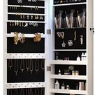 Amazon.com: 8 LED Lights Lockable Full mirror jewelry organizer wall mounted/door mounted Jewelry Box For Women/jewelry cabinet jewelry armoire with mirror/full length mirror hanging mirror 6180 : Clothing, Shoes & Jewelry