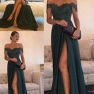 Sexy Leg Slit Long Prom Dresses Lace Off the Shoulder Evening Gowns