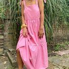Stradivarius tiered poplin midi dress with bunny ties in pink | ASOS