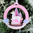 Personalised Unicorn 3D Christmas Tree Decoration, Make Your Own Kit, Xmas, Festive