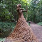 Artist Fills Forest with Life Size Sculptures Made from Woven Rods of Willow