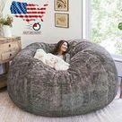 7ft Giant Bean Bag Cover Living Room Big Round Soft BeanBag Lazy Sofa Bed 2021