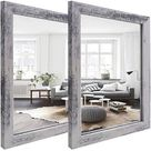 """2 PCS Decorative Rustic Wood Framed Wall Mirror,Rustic White Colour Accent Mirrors,The Perfect Addition To Bedroom, Bathroom Or Entryway.12""""X16"""""""