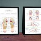 Reflexology Foot Map/Foot Chart Print in sizes A3/A4 (VERSION 2) Wall-art, Therapy Room Poster, Informative/Detailed Foot Map/Chart