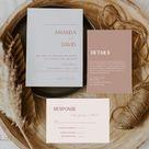 Dusty rose wedding invitation suite printable modern simple | Etsy