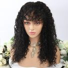 13X4 Lace Front Wig Deep Curly With Bangs - 24inch / 150% / 13X6 Lace Front Wigs