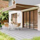Store banne , auvent rétractable protection solaire anti-UV et étanche avec manivelle, manivelle, pour cour, balcon, restaurant, café, en métal et