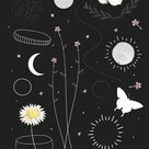 Download premium vector of Minimal floral galaxy design mobile phone wallpaper vector set by marinemynt about boho, moon, bohemian, flowers wallpaper, and art 1227234