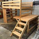 Full Loft Bed With Desk and Bookshelf  Kids Bedroom  Teen | Etsy