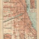 CHICAGO USA MAP Illinois from 1904