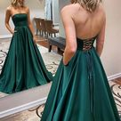Strapless Backless Emerald Green Long Prom Dress, Backless Emerald Green Formal Graduation Evening Dress   As Picture / US8