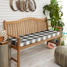 Humble and Haute Black Buffalo Plaid Indoor/ Outdoor Bench Cushion (60 in w x 19 in d)(Polyester), Outdoor Cushion