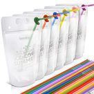 """Drink Pouches, Teenitor 50 Pcs Zipper Plastic Pouches Drink Bags 2.4''Bottom Gusseted, Translucent frosted 16 oz adult size """"capri-sun bags""""with 50 Drink Straws"""
