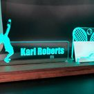 Personalized Athlete - Sport - Tennis - Golf - Football - Exercise LED light desk name plate and business card holder. Wood and Acrylic.