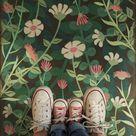 Vintage Vinyl Floorcloth Mats (Pattern 73 Little Idas Flowers)