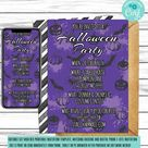 Halloween Party Invitation Template, Editable DIY E Vite, Purple Bats Costume Party Invite For Teens,Adults, Phone Invite,Instant Download
