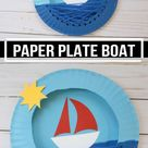 Paper Plate Boat Craft For Kids. Easy Summer Craft For Preschoolers